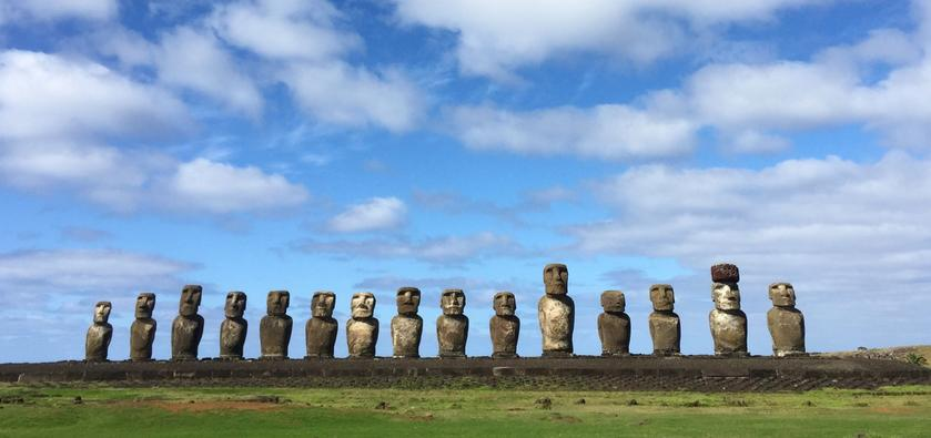 A selection of moai (carved human figures) on Easter Island, Chile
