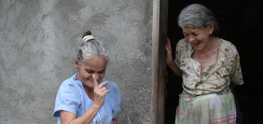 Two local women from Santa Barbara, Honduras, conversing animatedly