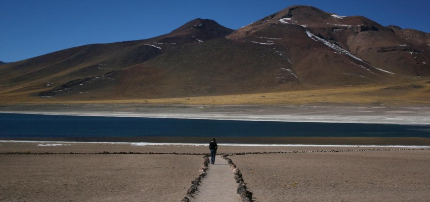 Student walking in the Atacama Desert of Chile.