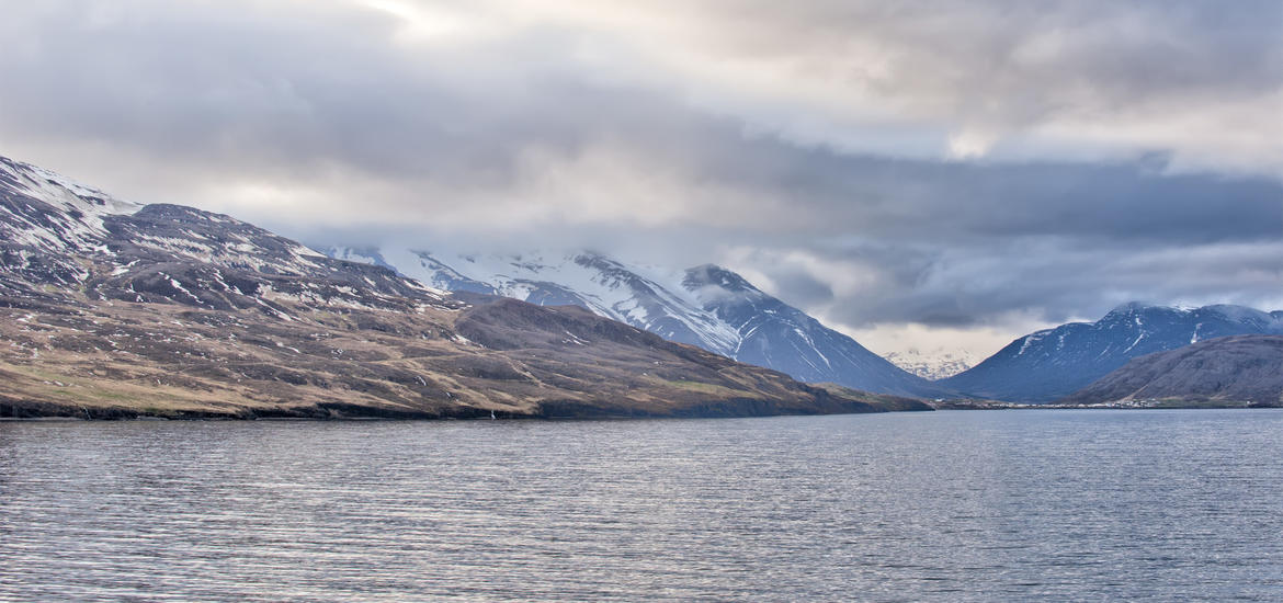 Coastal view of Akureryi, Iceland in Spring
