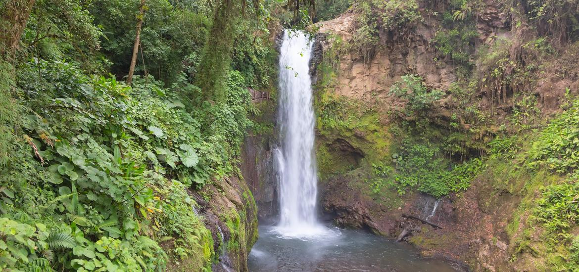 Distant view of La Paz Waterfall in Alajuela, Costa Rica