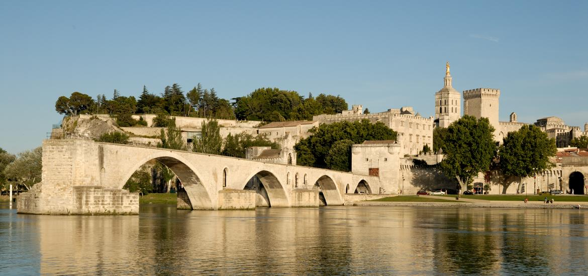 View of the Pont d'Avignon and Rhone River in Avignon, France