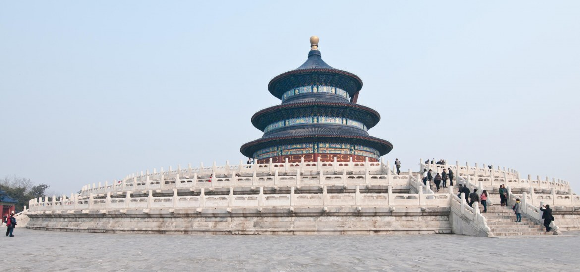 Tourists visit the Temple of Heaven in Beijing, China