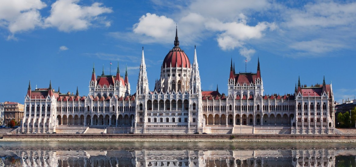 Reflection of the Hungarian Parliament building in the Danube River
