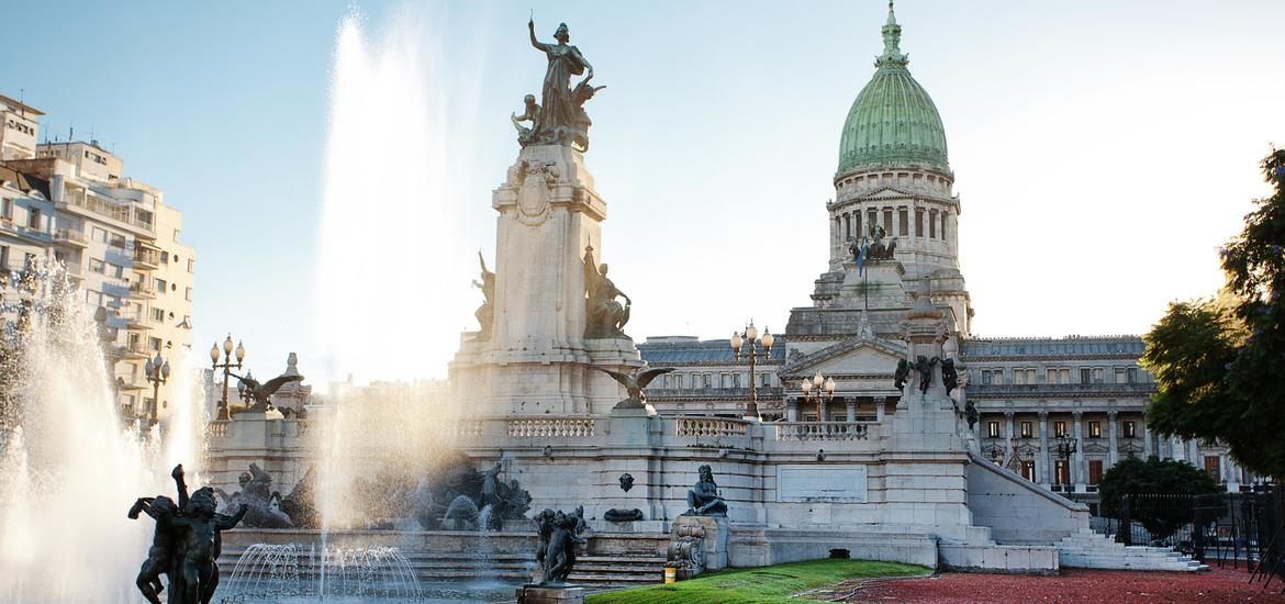 Building of Congress and the fountain in Buenos Aires, Argentina