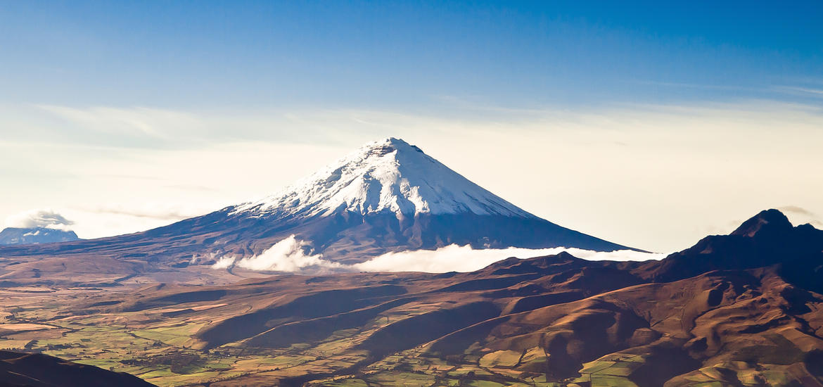 Aerial shot of Cotopaxi Volcano in the Andes Mountains