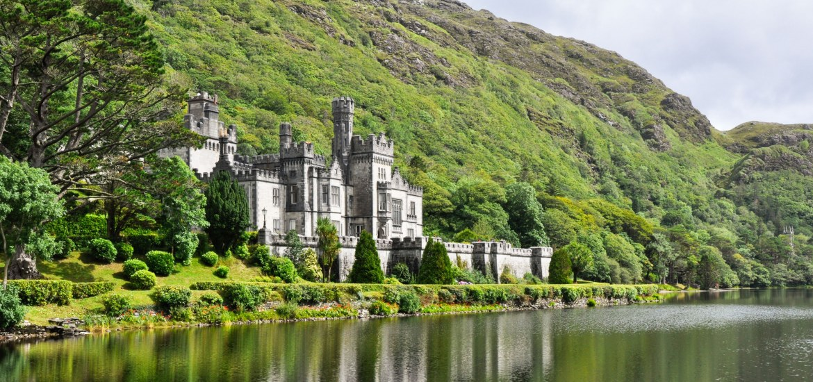 View of Kylemore Abbey in the Connemara Mountains, Ireland