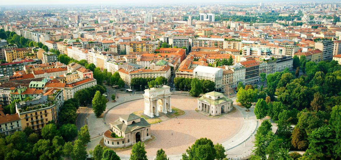 Aerial view of Porta Sempione and the city of Milan