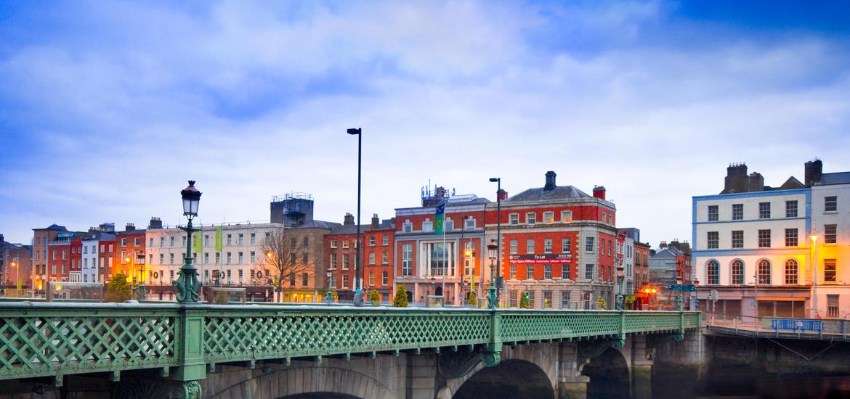 View of the Grattan Bridge spanning the River Liffey in Dublin