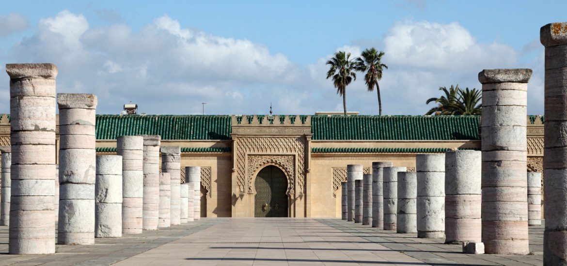 Historical building situated behind the Hassan Tower in Rabat, Morocco