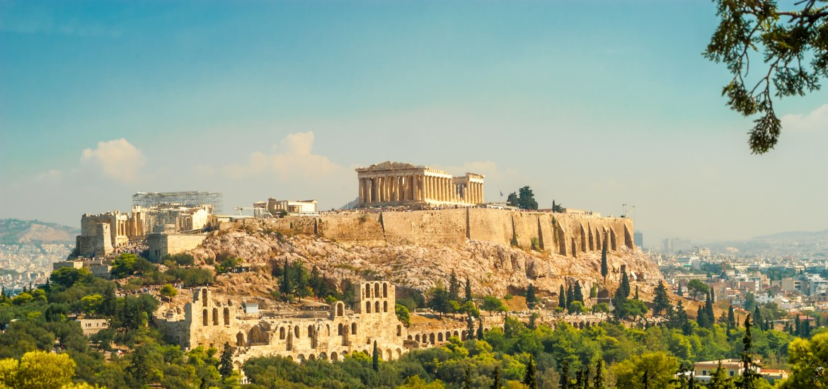 Ancient citadel on large rocky outcrop overlooking Athens