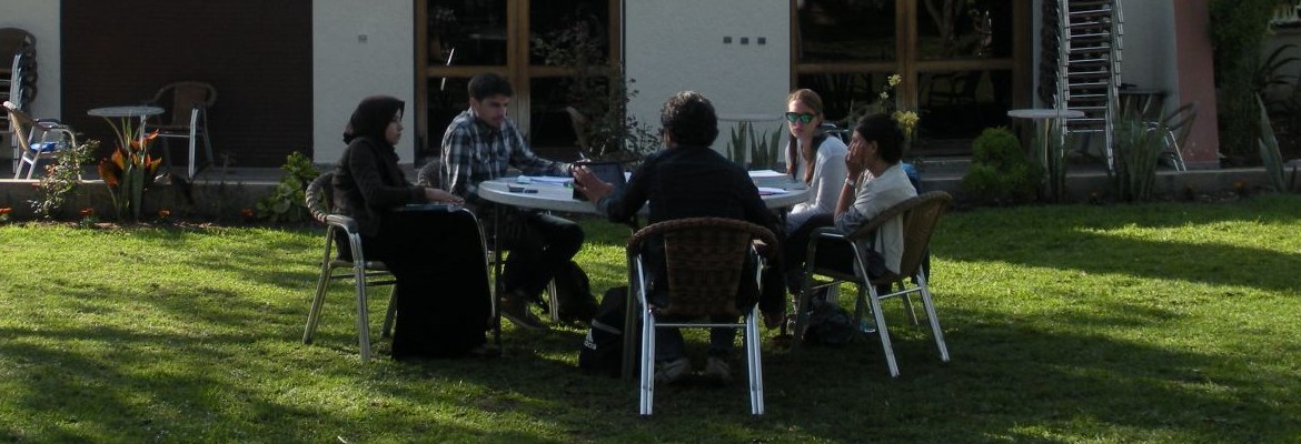 Students studying in a Moroccan Courtyard.