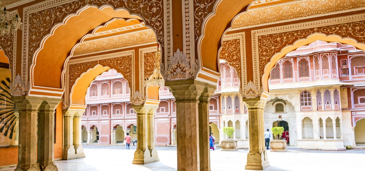 Archways of the Chandra Mahal in City Palace, Jaipur, India