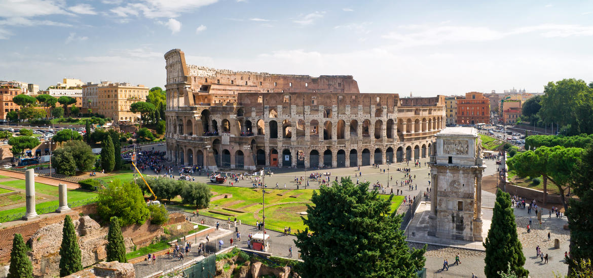 Aerial view of the Colosseum in Rome
