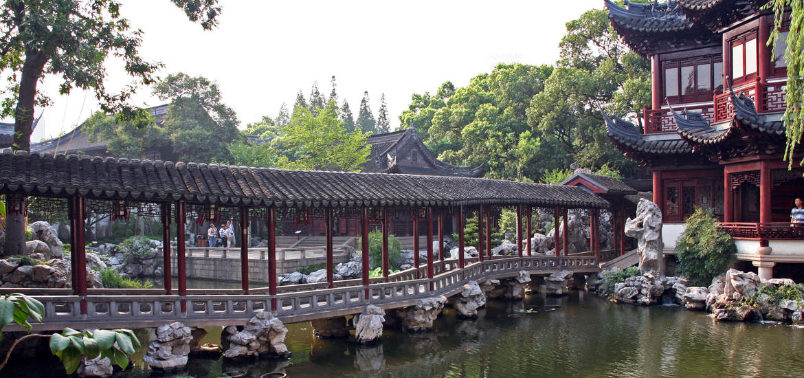 View of a pavilion and pond in the Yuyuan Garden