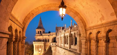 A night view of the North gate of the Fisherman's Bastion
