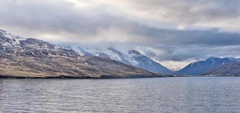 Coastal view of Akureryi, Iceland in Spring