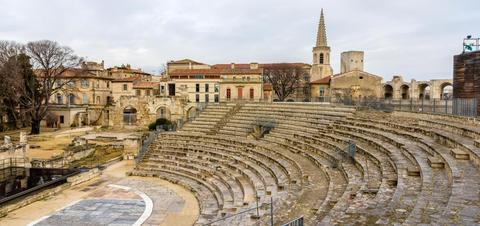 Ruins of Roman Theatre in Arles, France