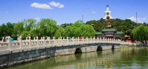 A panoramic view of the royal garden of Beihai Park in Beijing, China