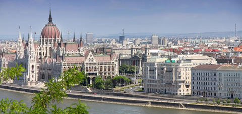 Aerial view of the Parliament Building in Budapest, Hungary