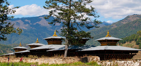 View of a monastery in Jakar in the Bumthang valley, Bhutan