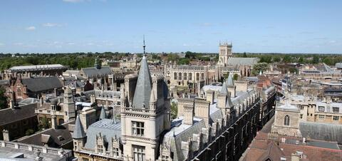 An aerial view of Cambridge's historical buildings