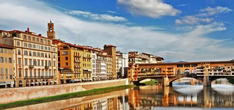 View of Florence on the water