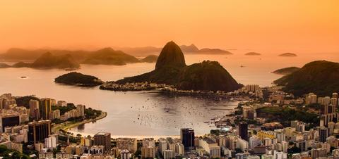 Aerial view of Rio at dusk
