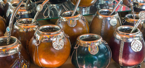An array of calabash gourd mate cups in Argentina