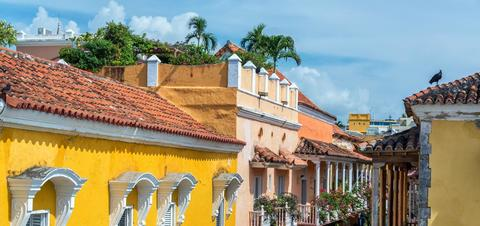 Colorful buildings and balconies in the historic center of Cartagena