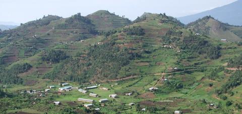 Panoramic aerial view of the Virunga Mountains in Uganda