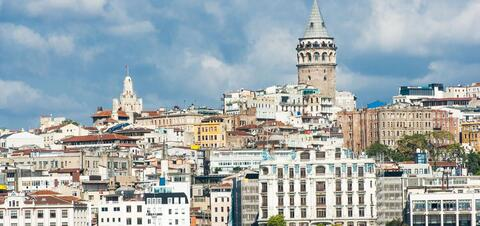 Galata Tower over the Golden Horn in Istanbul, Turkey