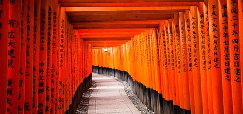 The pathway through the Fushimi Inari-taisha Shrine in Kyoto, Japan