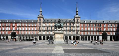 Architecture at Plaza Mayor in Madrid