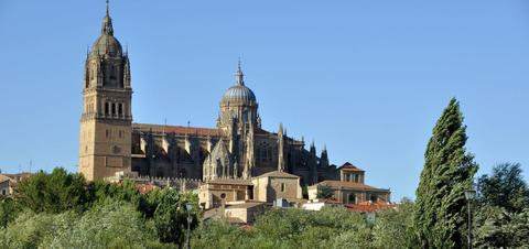 Romana Bridge overlooking the New Cathedral in Salamanca