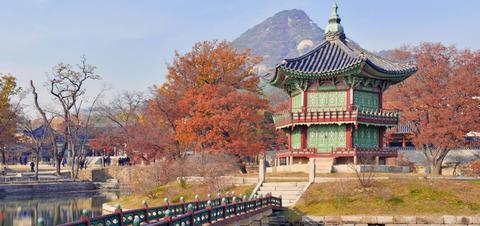 View of Gyeongbokgung Palace in Seoul, South Korea