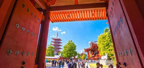 Tourists visit Senso-ji Temple in Tokyo, Japan