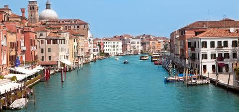 An aerial view of the Grand Canal in Venice, Italy