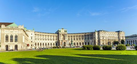 Panoramic view of the Hofburg Palace in Vienna, Austria
