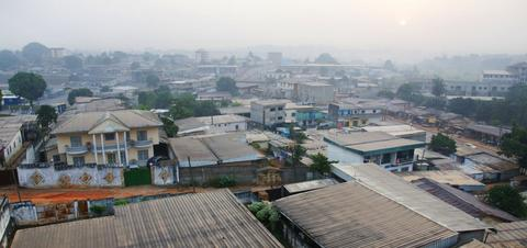 Aerial view of houses and businesses in Yaounde